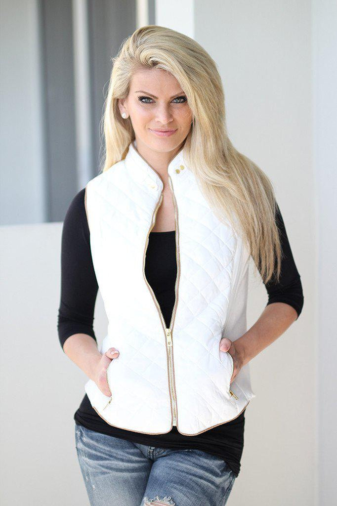 cream zipper vest