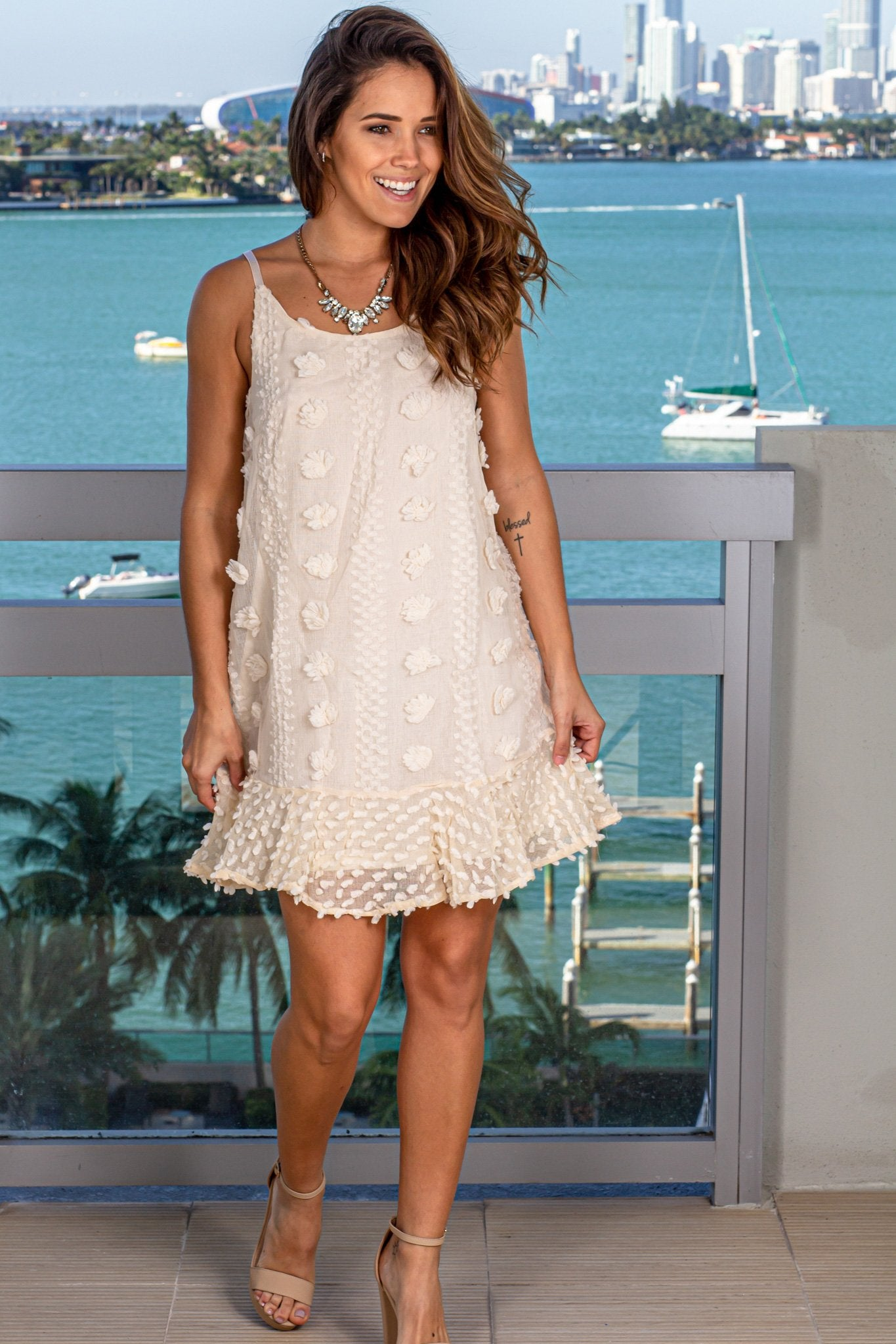 Cream Short Dress with Floral Embellishment