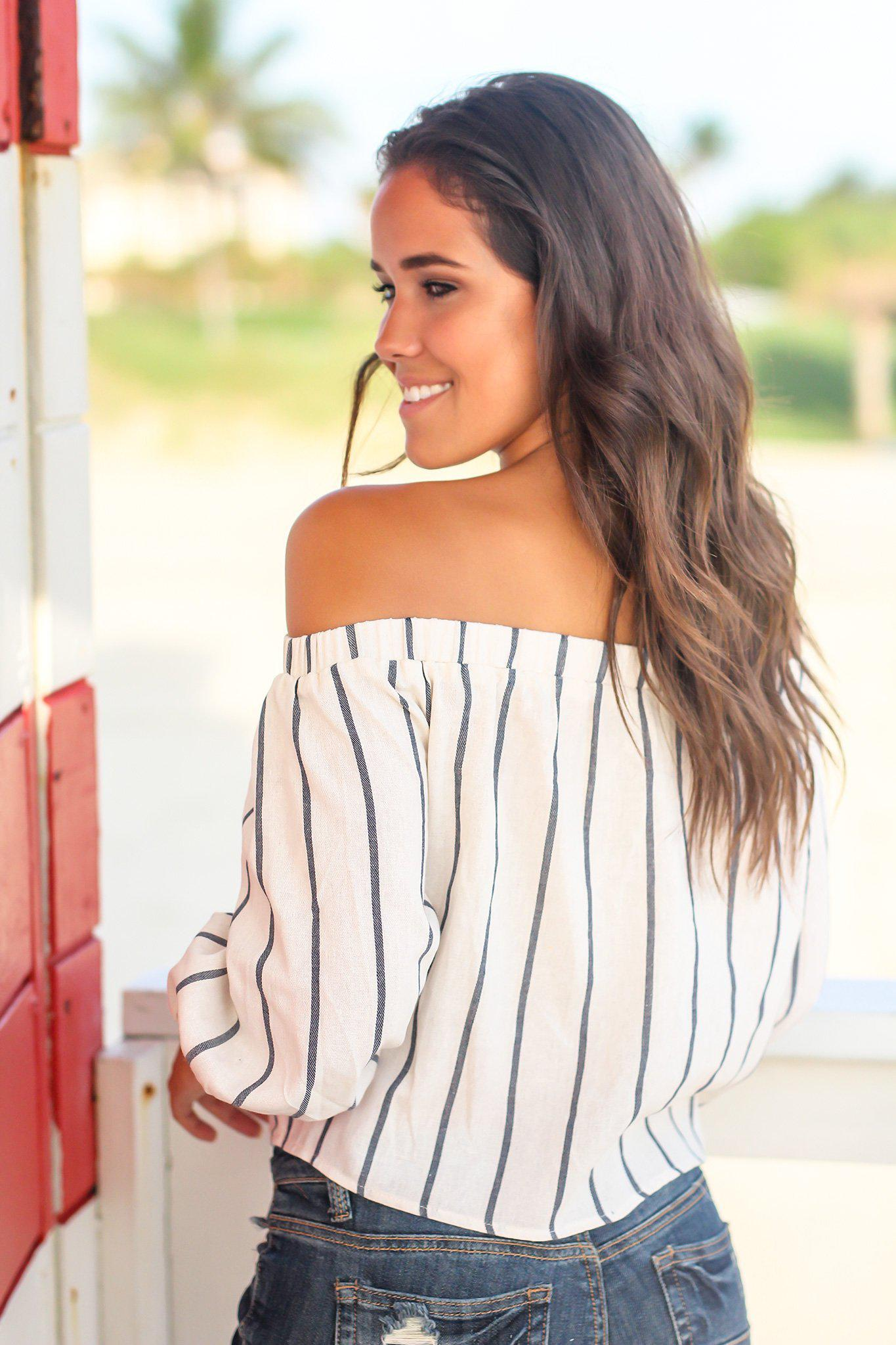 Cream Striped Off Shoulder Top