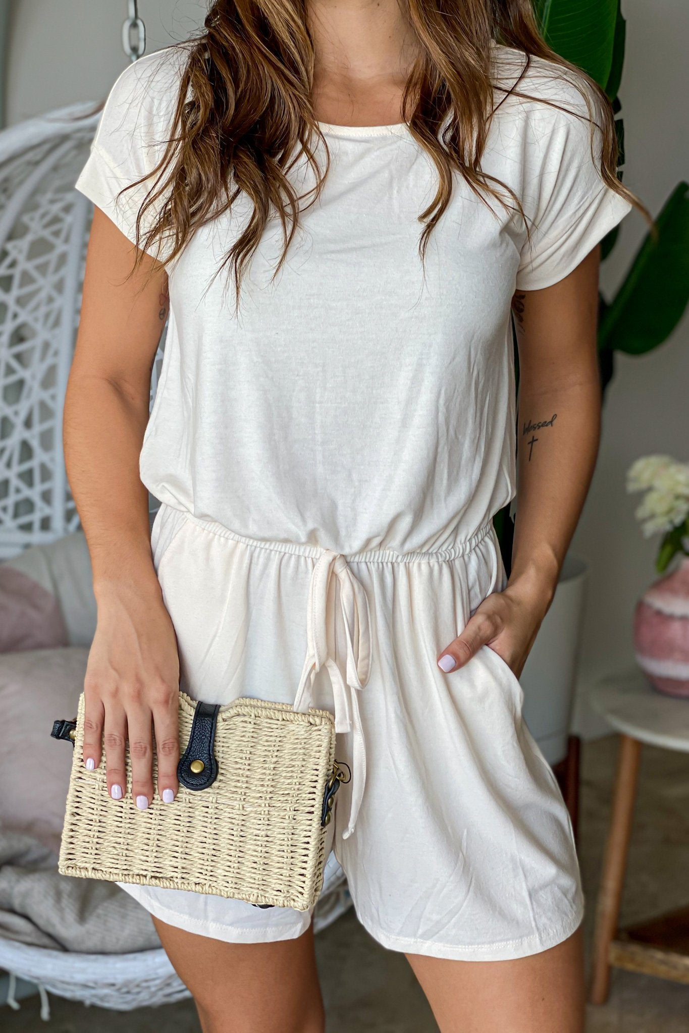 Cream Tie Waist Romper with Pockets