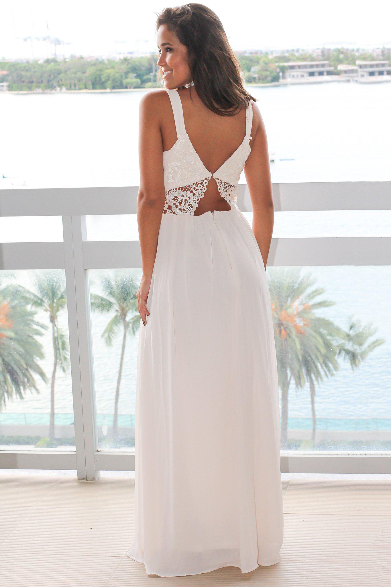 Cream V-Neck Maxi Dress with Lace