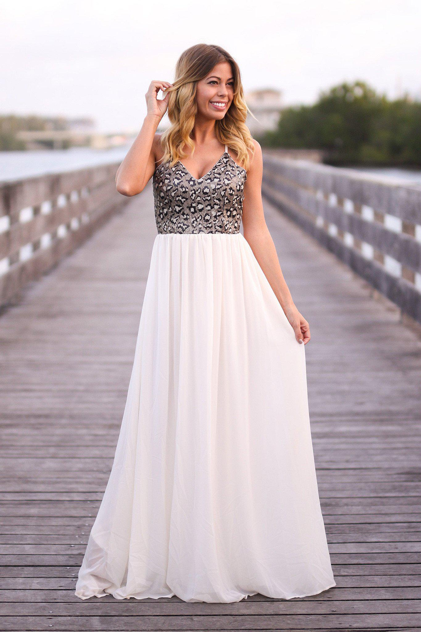 Cream and Black Sequined Maxi Dress