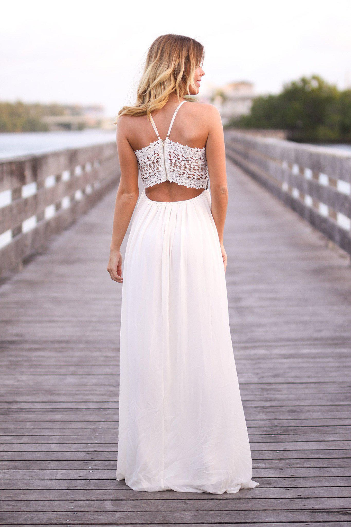 Cream and Black Sequined Maxi Dress with Crochet Back | Maxi Dresses ...