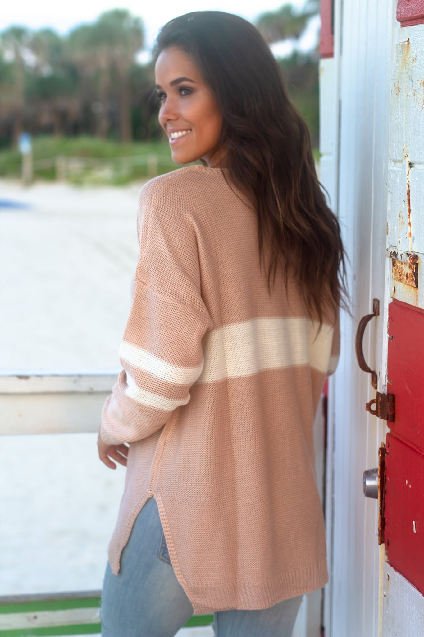 Cream and Blush V-Neck Sweater