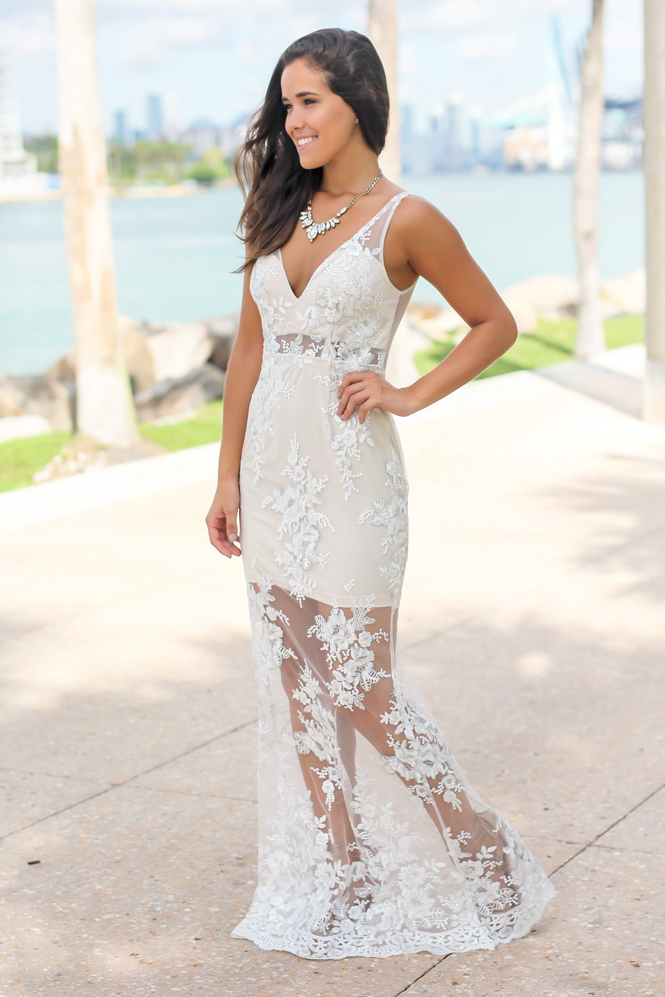Cream and Nude Embroidered Maxi Dress