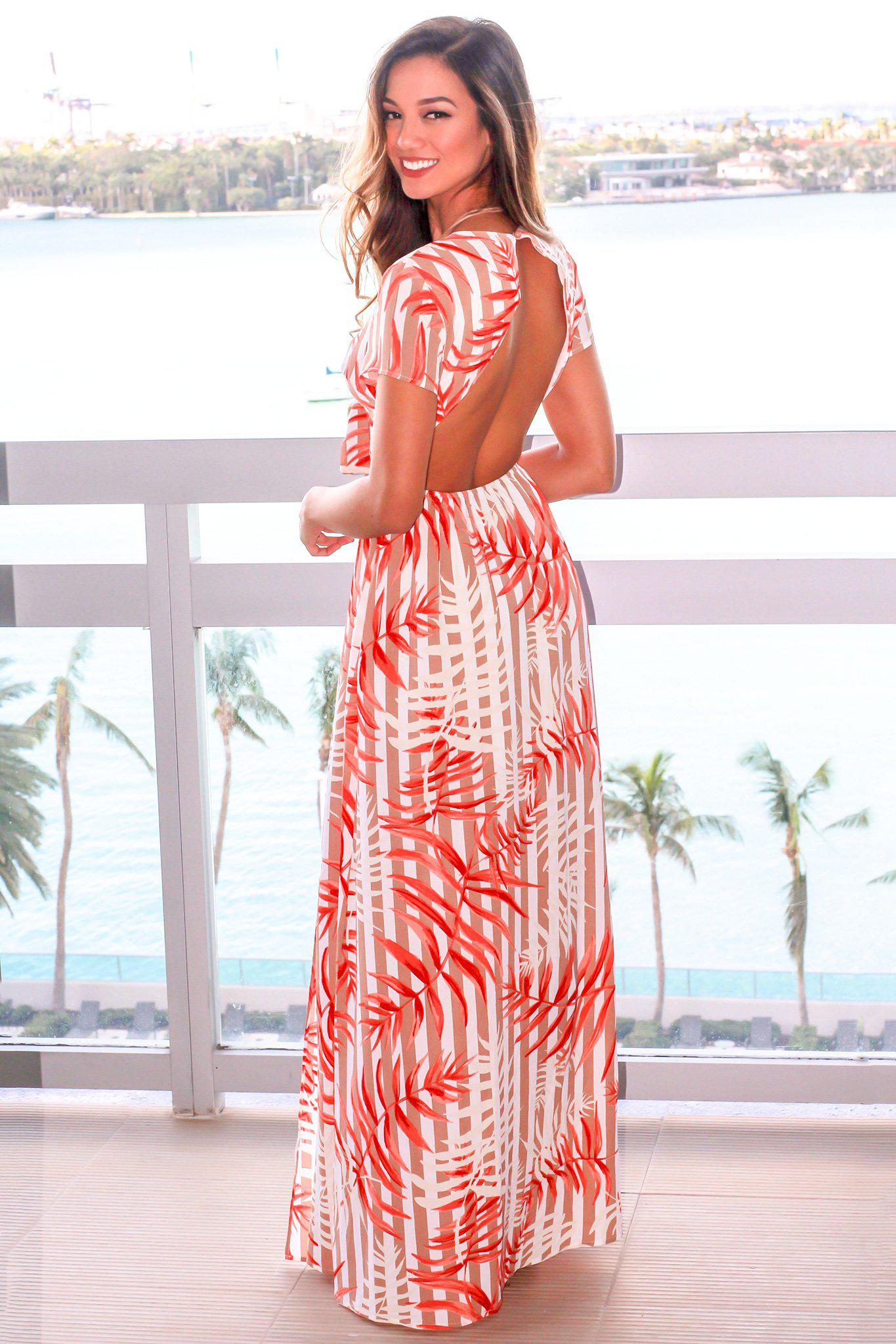 Cream and Orange Printed Cut Out Maxi Dress