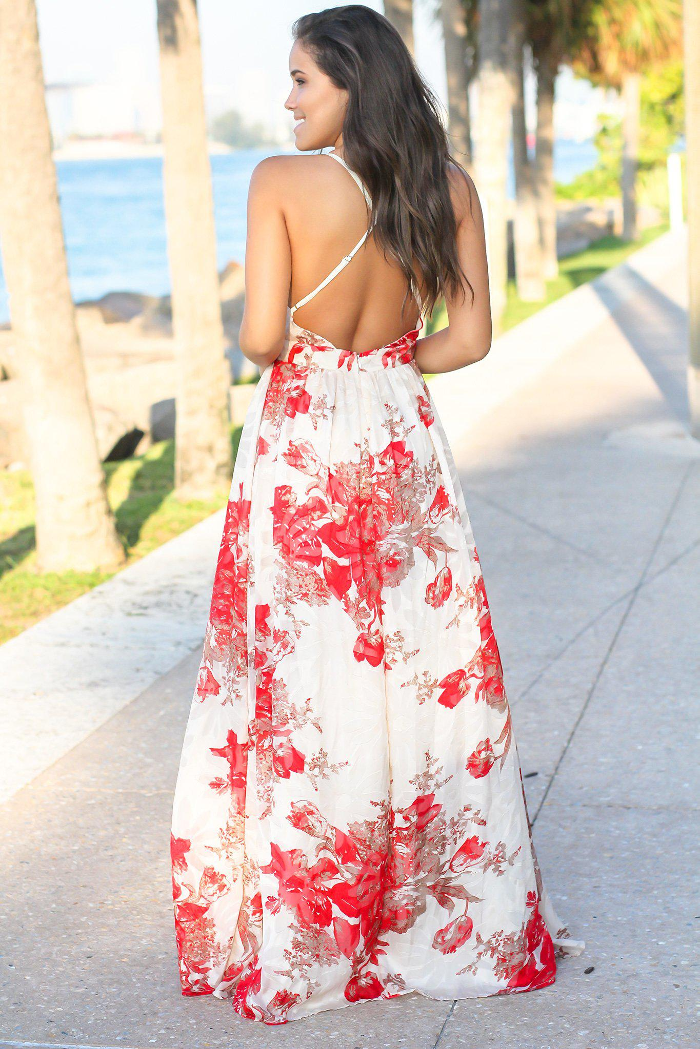 Cream and Red Floral Chiffon Maxi Dress