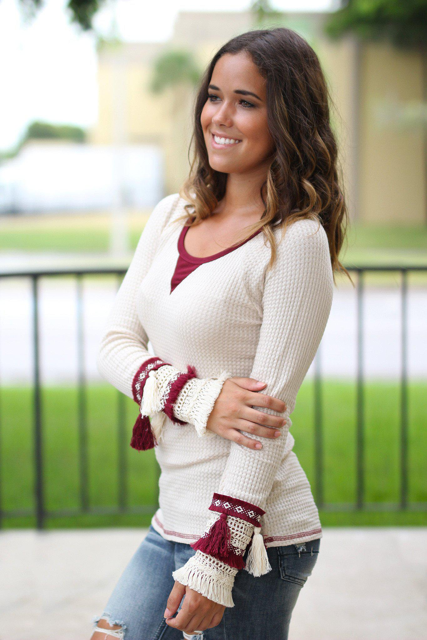 Cream and Wine Top with Tassels