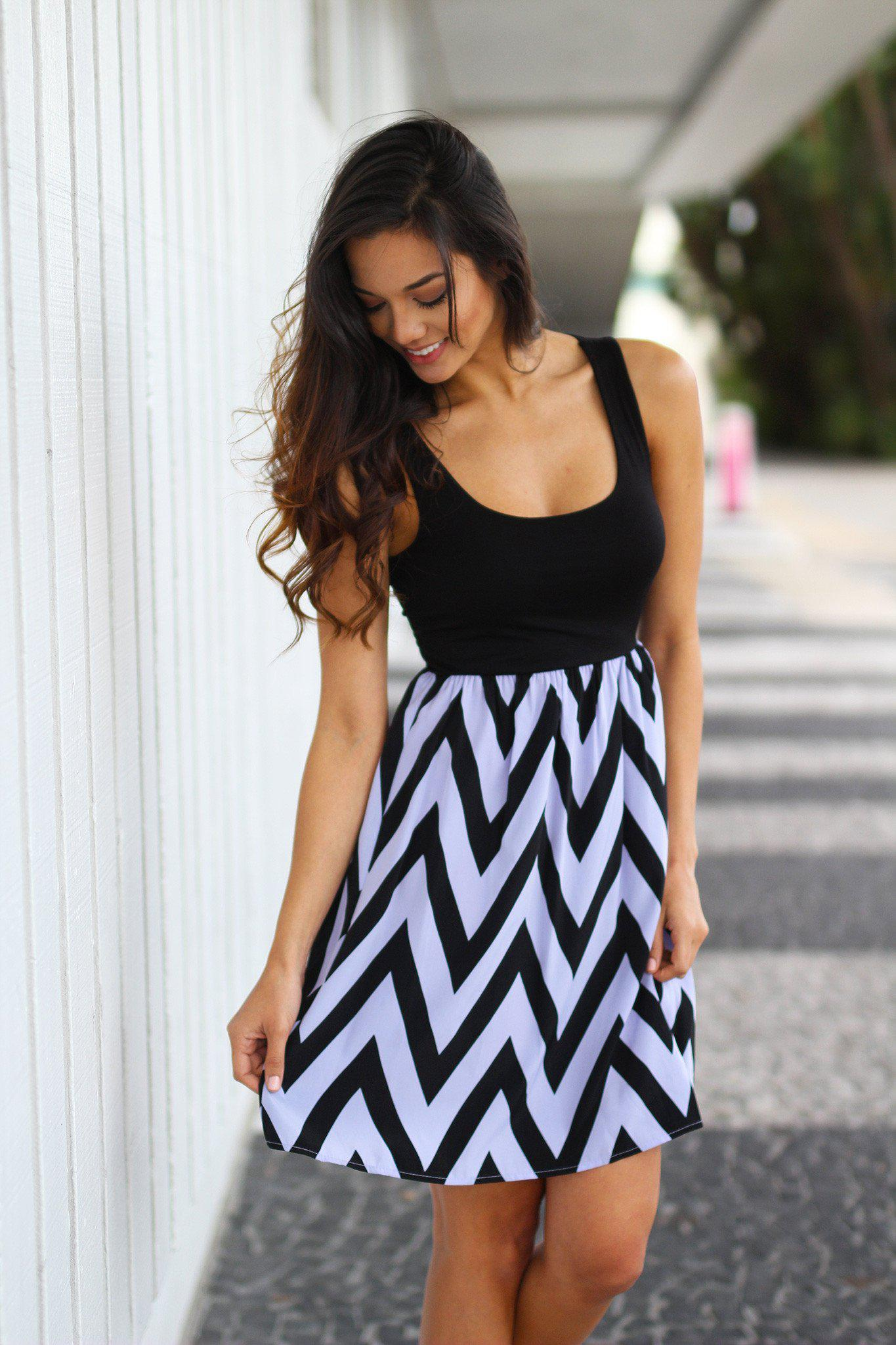 Lavender Chevron Tank Dress