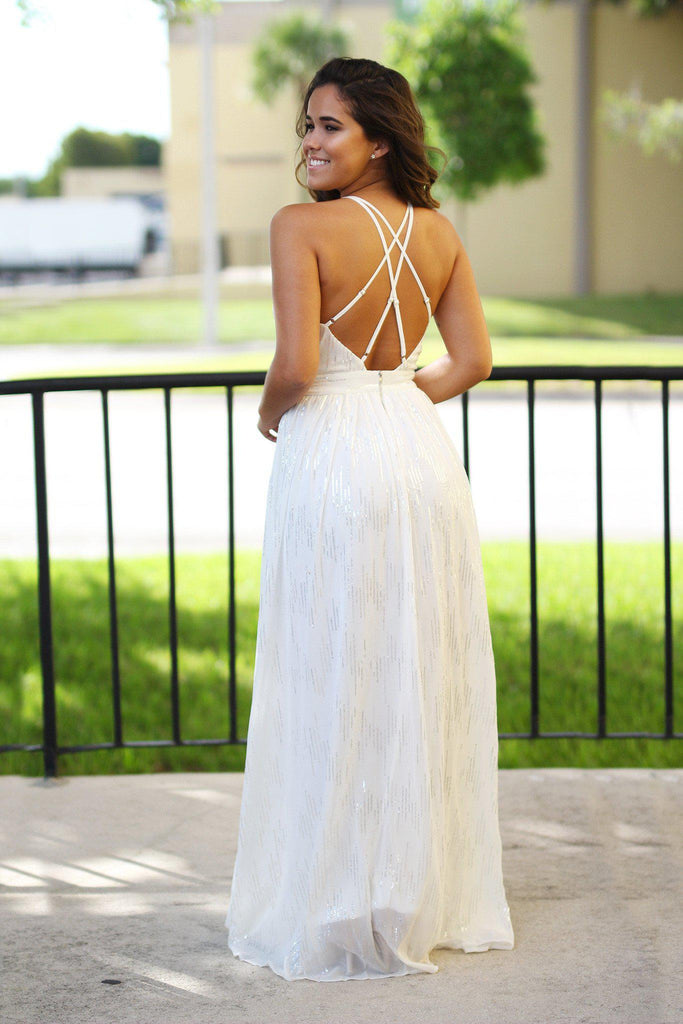 off white open back long dress