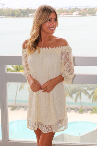 Natural Crochet Off Shoulder Short Dress