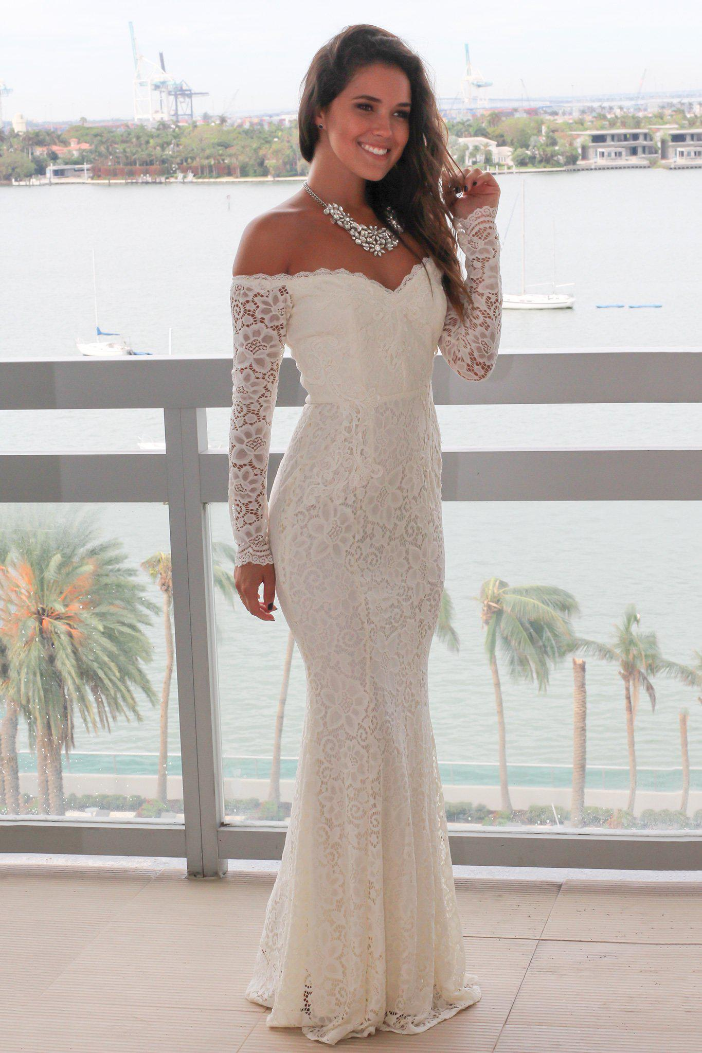 Beige Crochet Off Shoulder Maxi Dress Maxi Dresses Saved By The