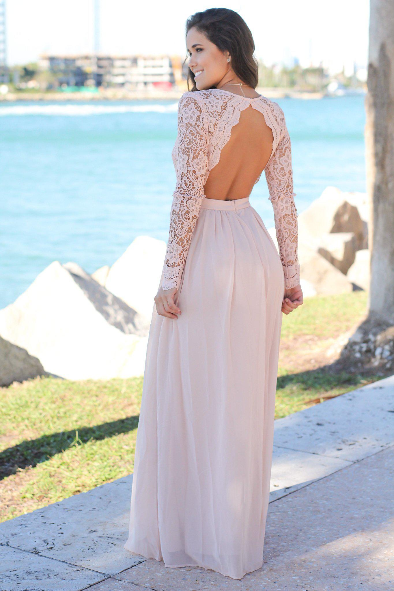 Blush Crochet Maxi Dress with Open Back and Long Sleeves ...