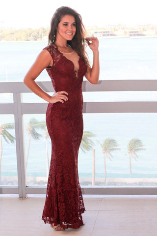 Wine Crochet Maxi Dress with Mesh Detail