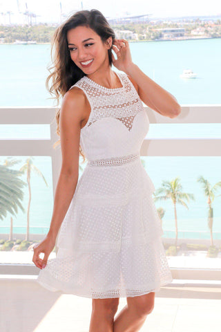 Ivory Crochet Tiered Short Dress