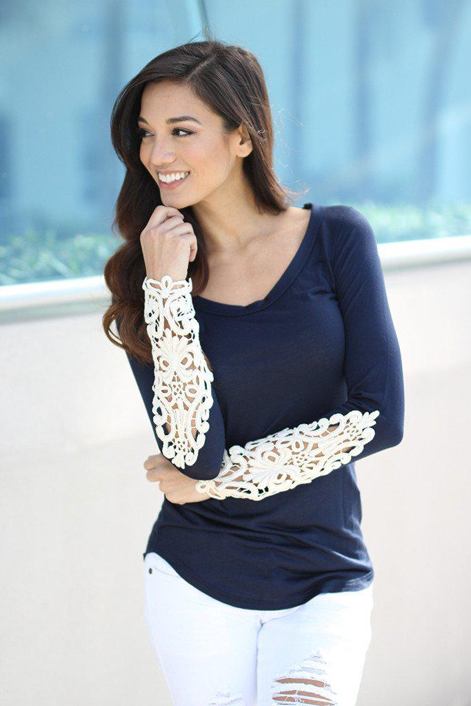 navy top with crochet sleeve