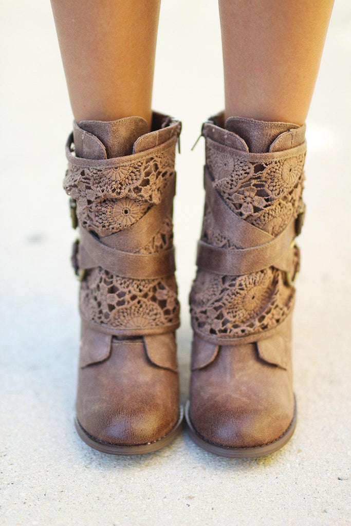 Crunch Time Taupe Booties