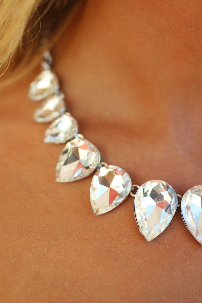 Crystal Teardrop Silver Necklace