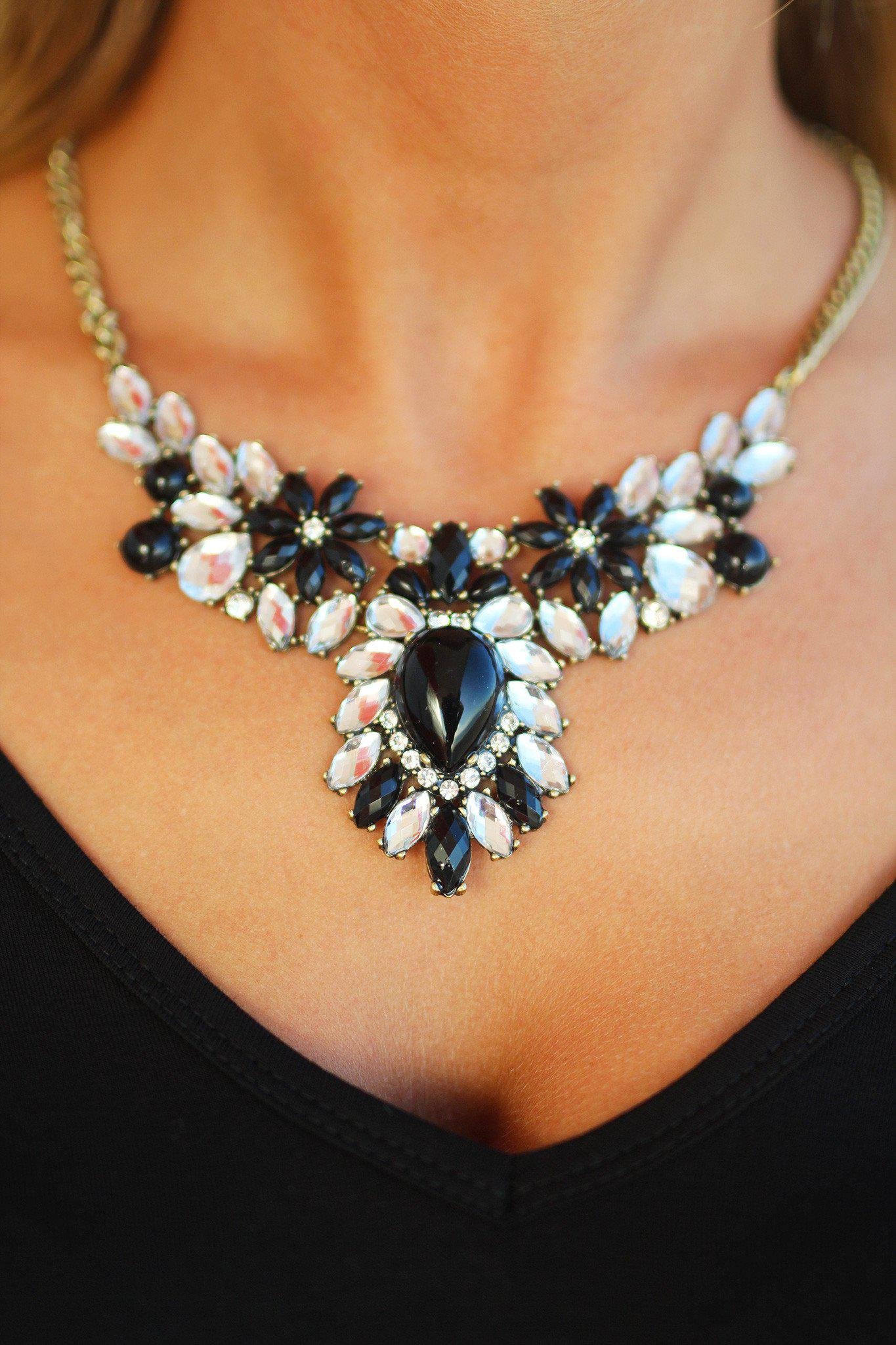 Black and Crystal Beaded Necklace