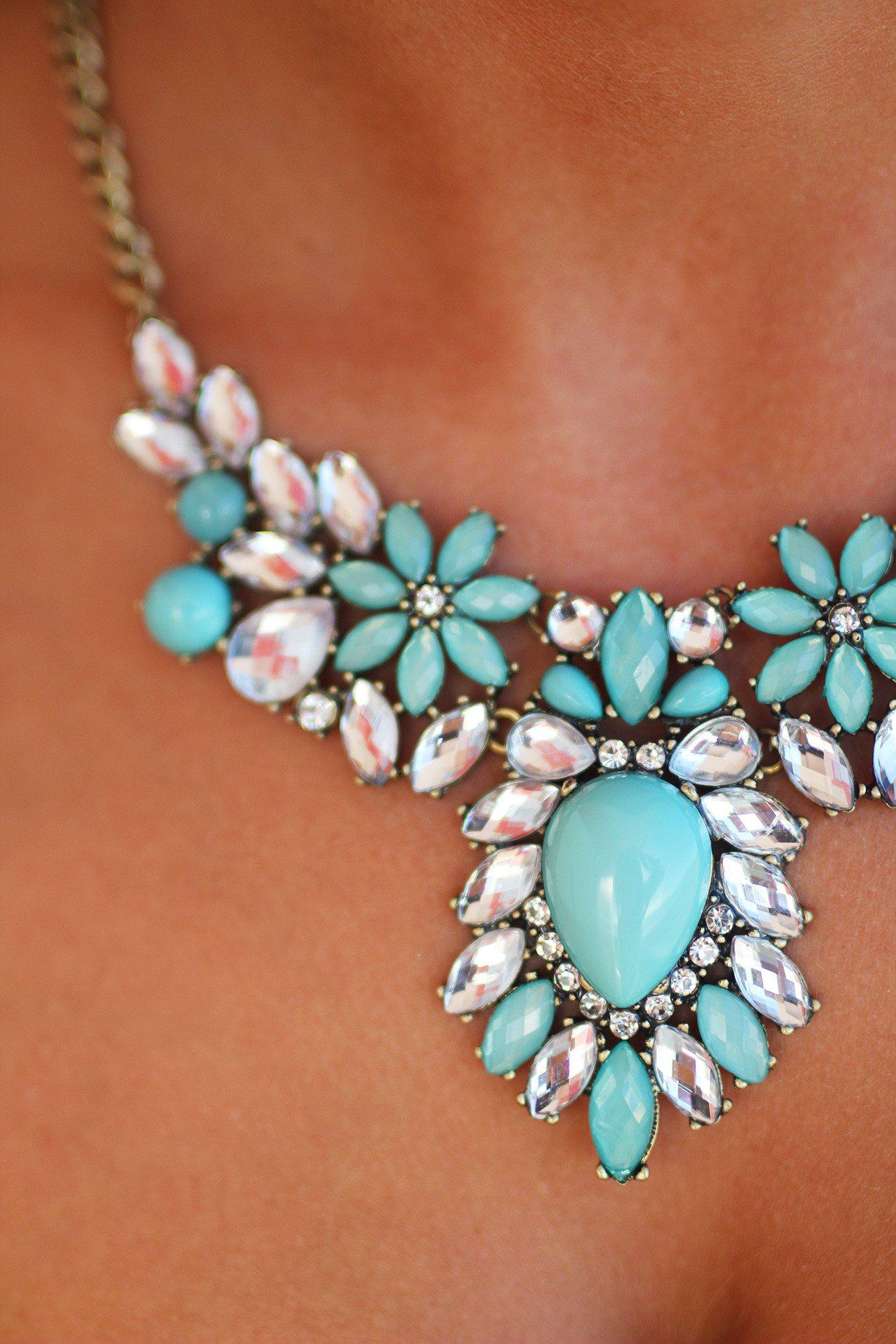 Mint and Crystal Beaded Necklace