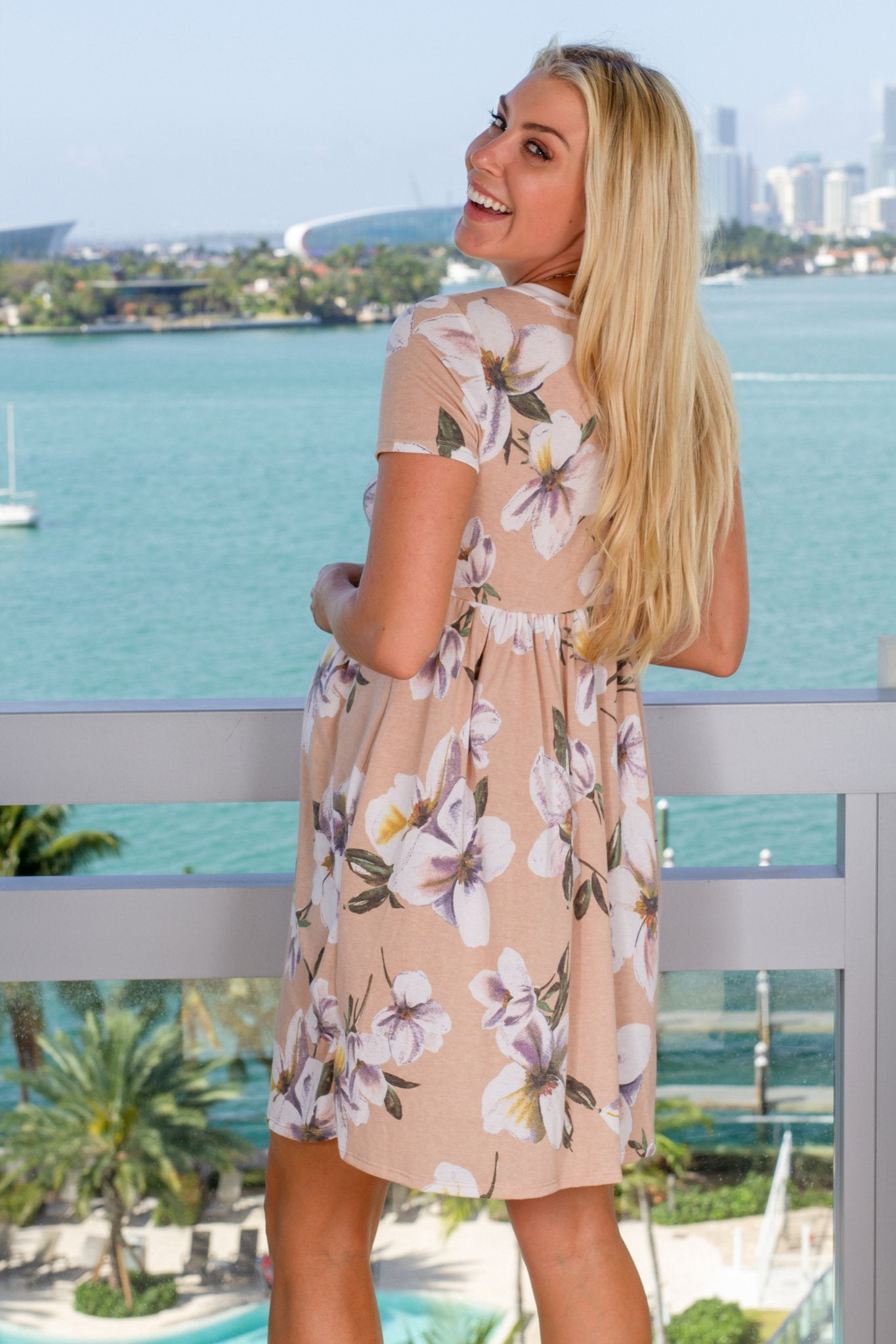 Tan Floral Short Dress with Pockets