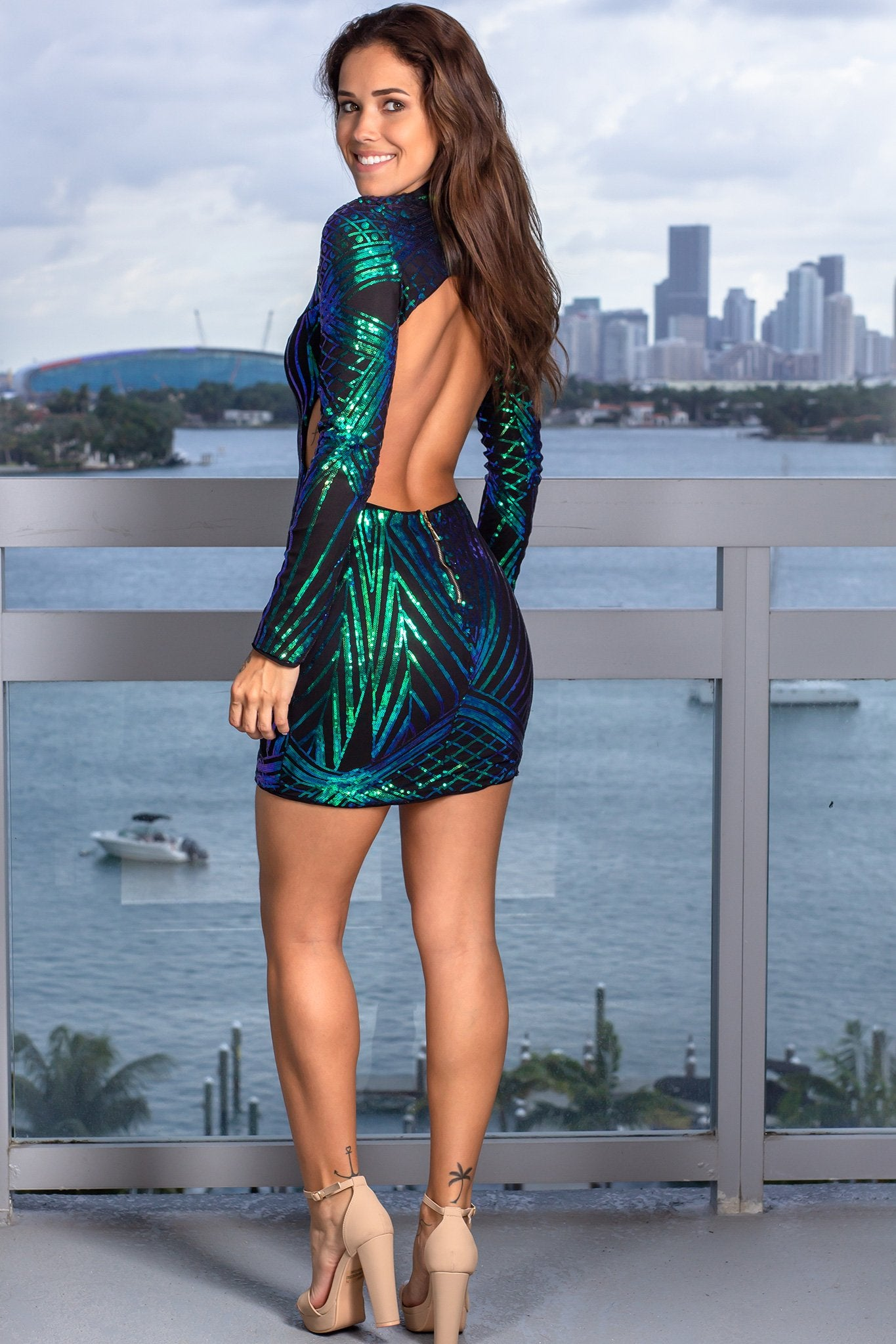 Black and Emerald Sequin Short Dress