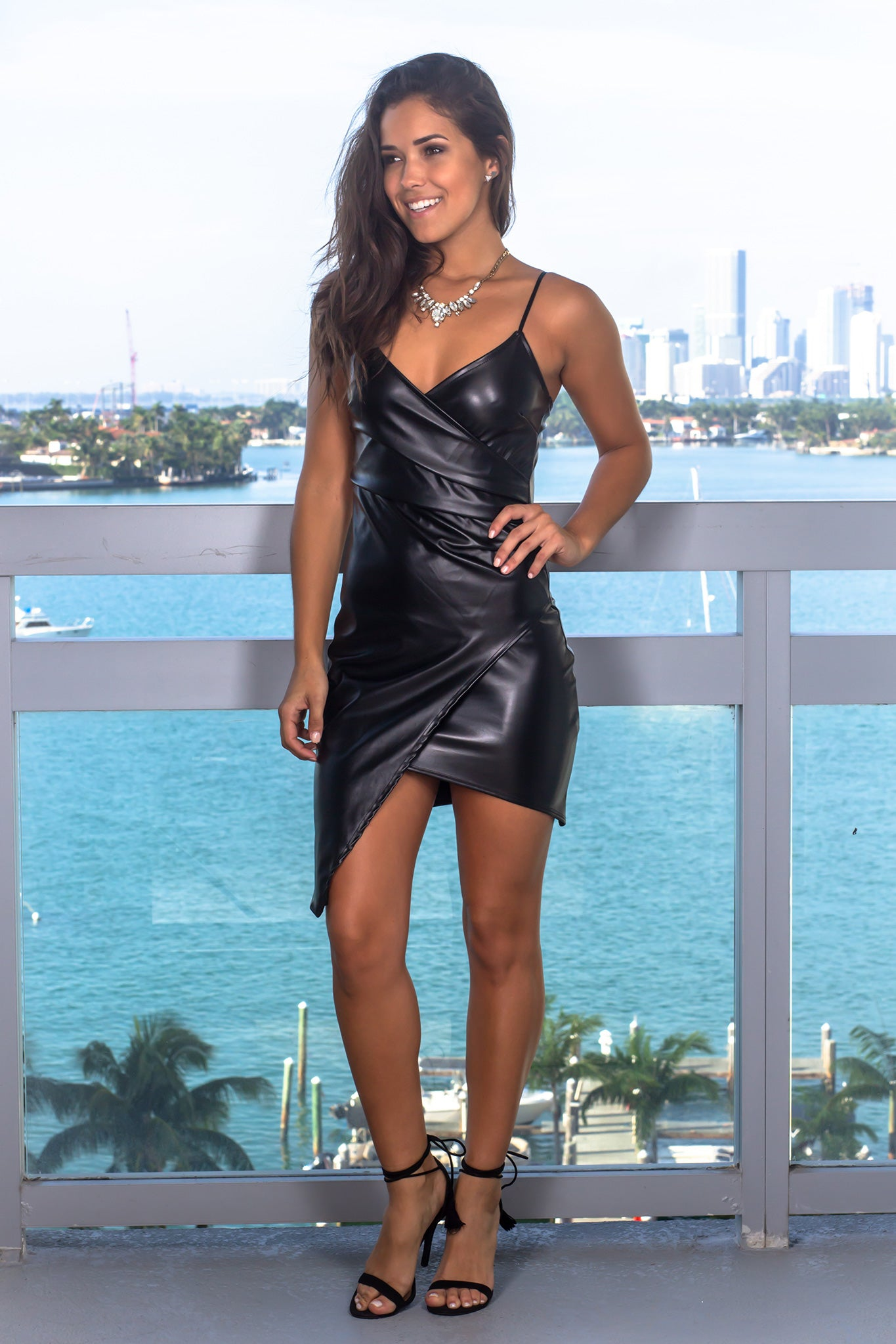 45346b66a21 Black Leather Short Dress with Ruched Side   Short Dresses – Saved ...