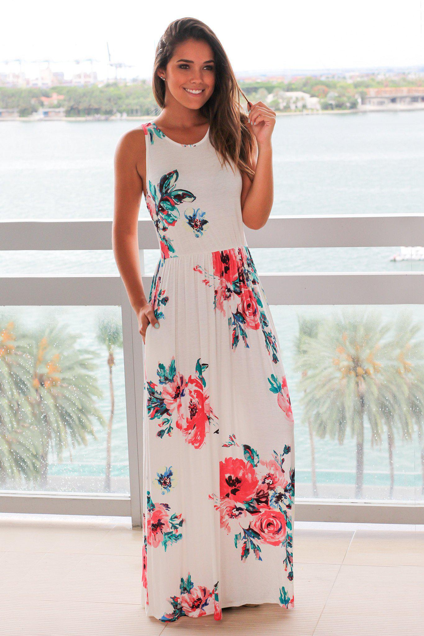 aff7635561c23 Ivory and Pink Floral Sleeveless Maxi Dress | Online Boutiques ...
