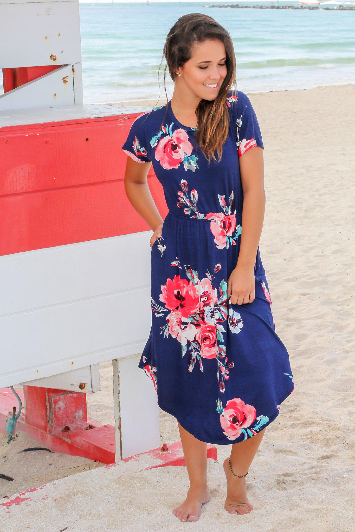 Navy Floral Midi Dress with Short Sleeves