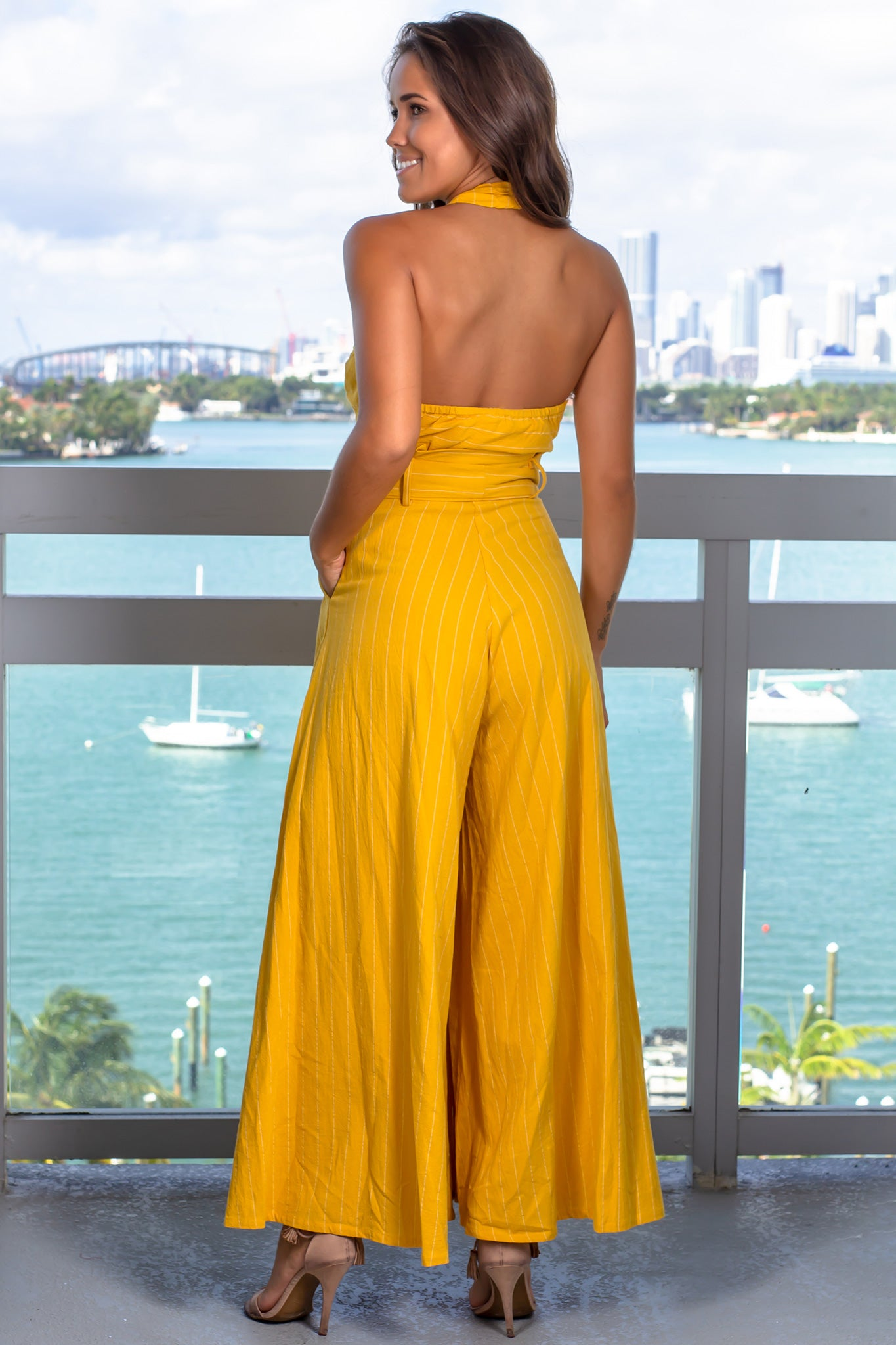 f50cdc608b Mustard Cut Out Front Jumpsuit