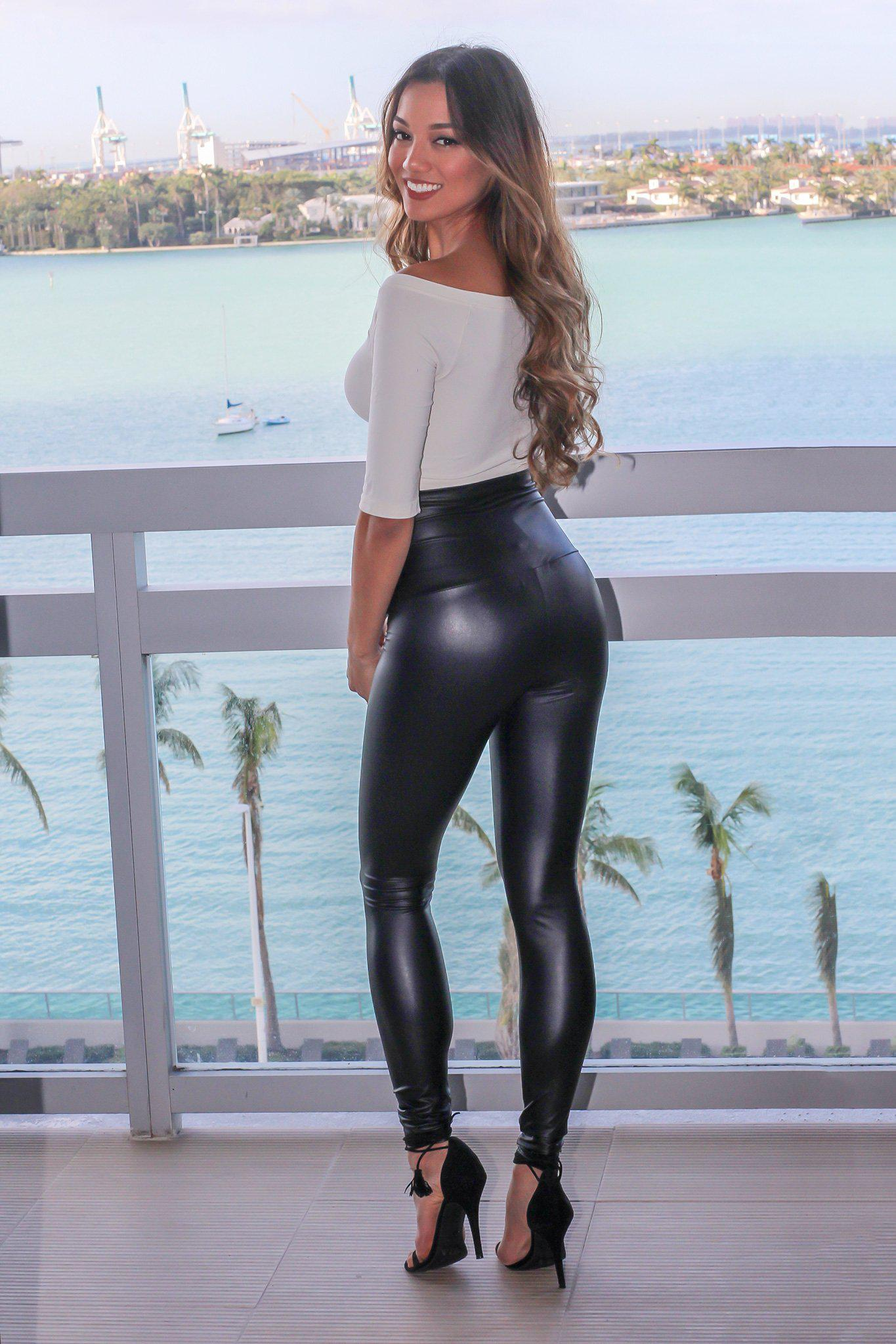 Black High Waisted Faux Leather Leggings Leggings Saved By The Dress