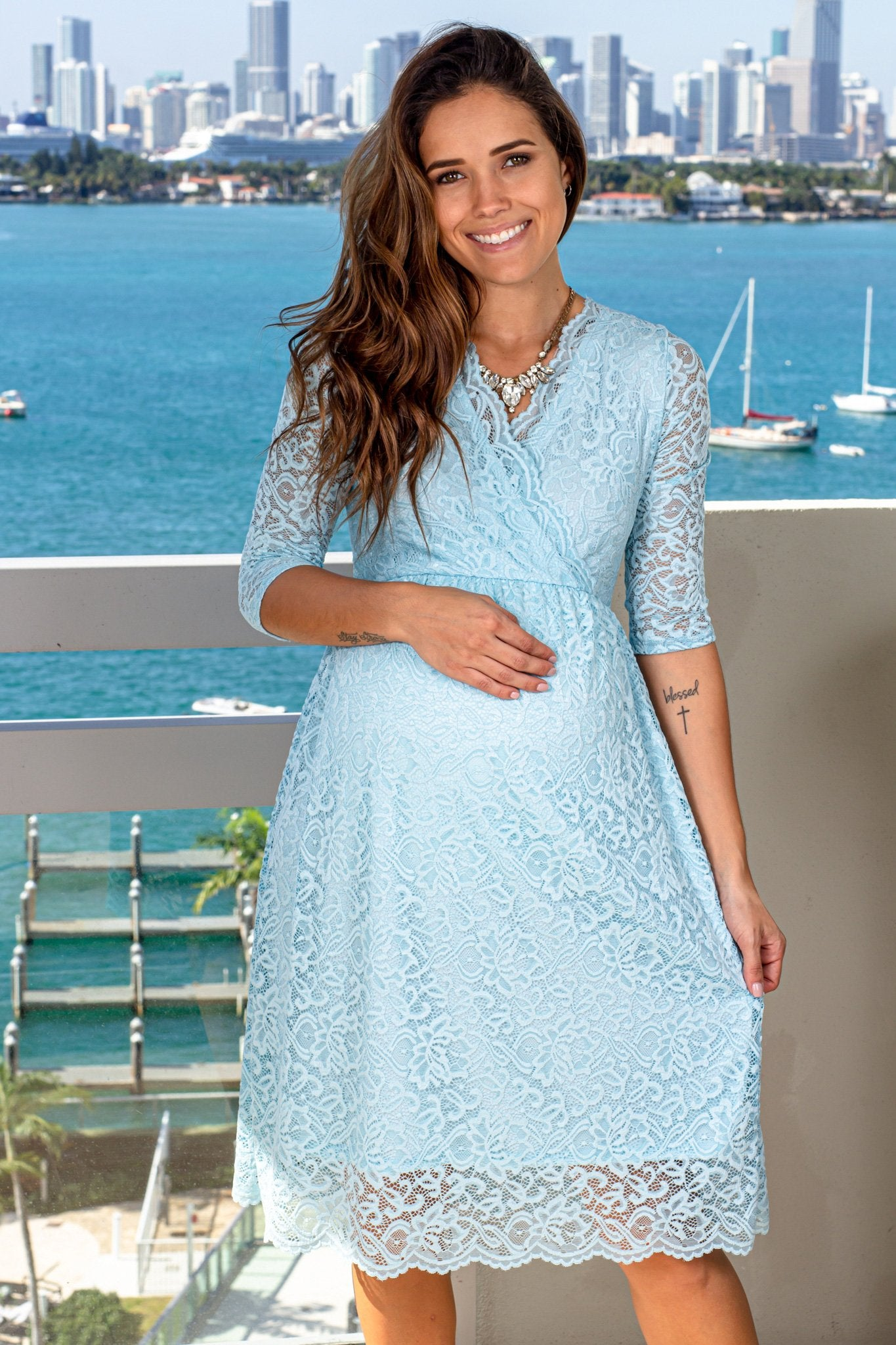 Aqua Lace Short Dress