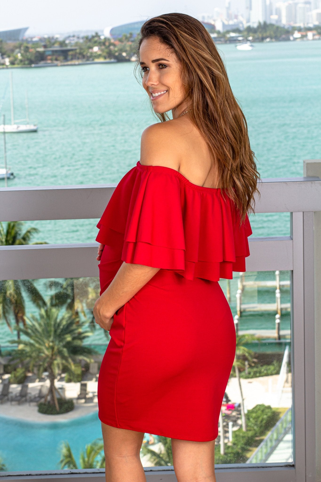 Red Short Dress with Ruffles