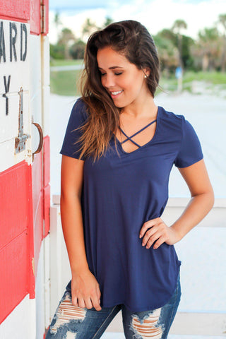 Navy Criss Cross Top with Short Sleeves