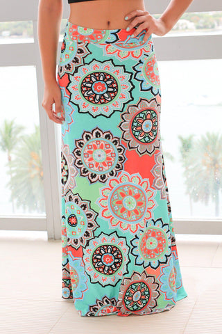 Mint and Coral Medallion Printed Maxi Skirt