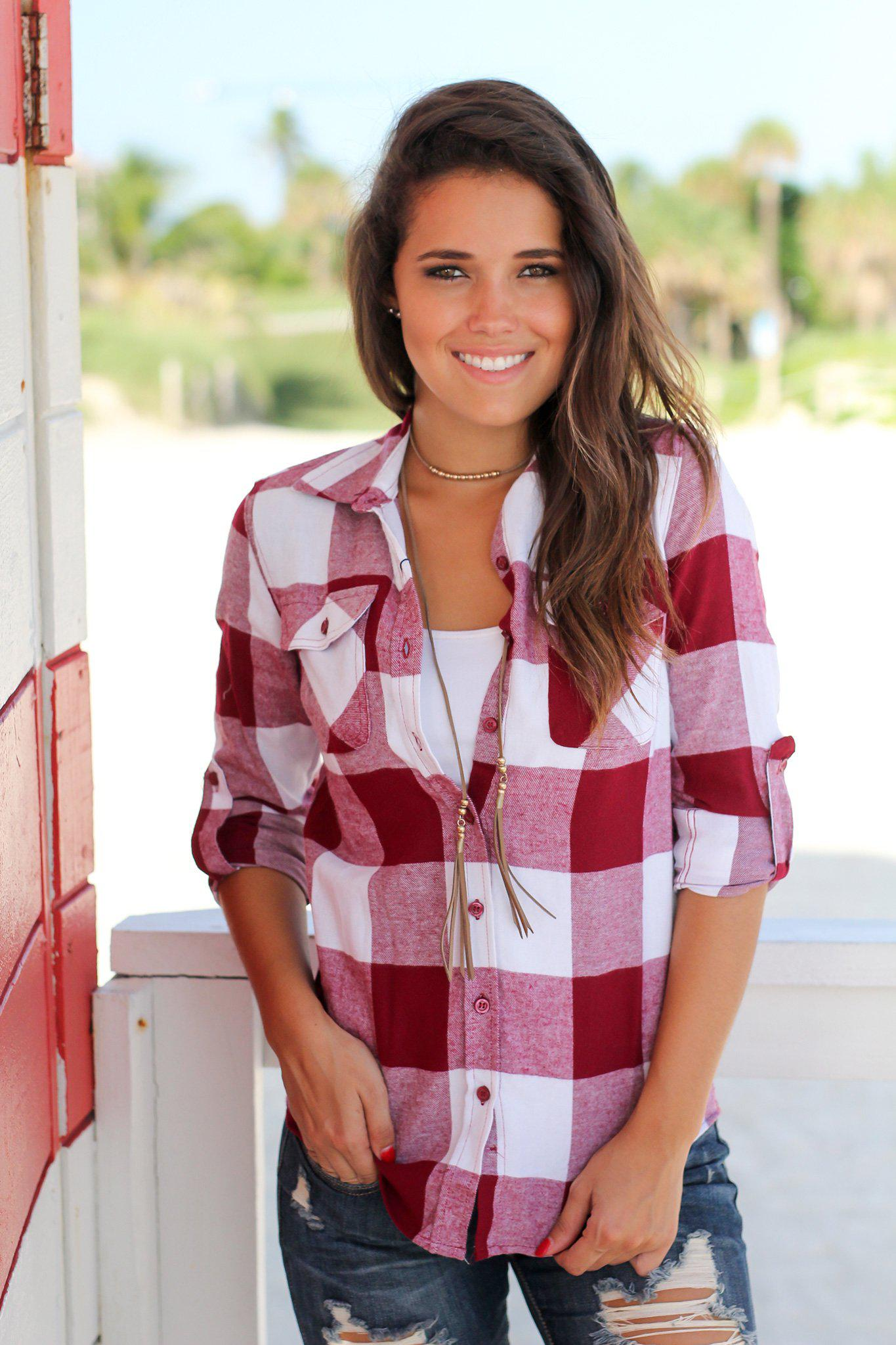 Burgundy and White Plaid Top