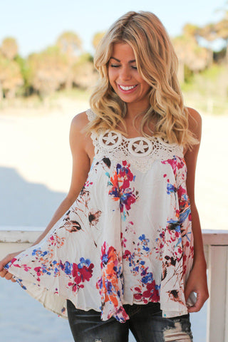 Ivory and Pink Floral Top with Crochet Detail