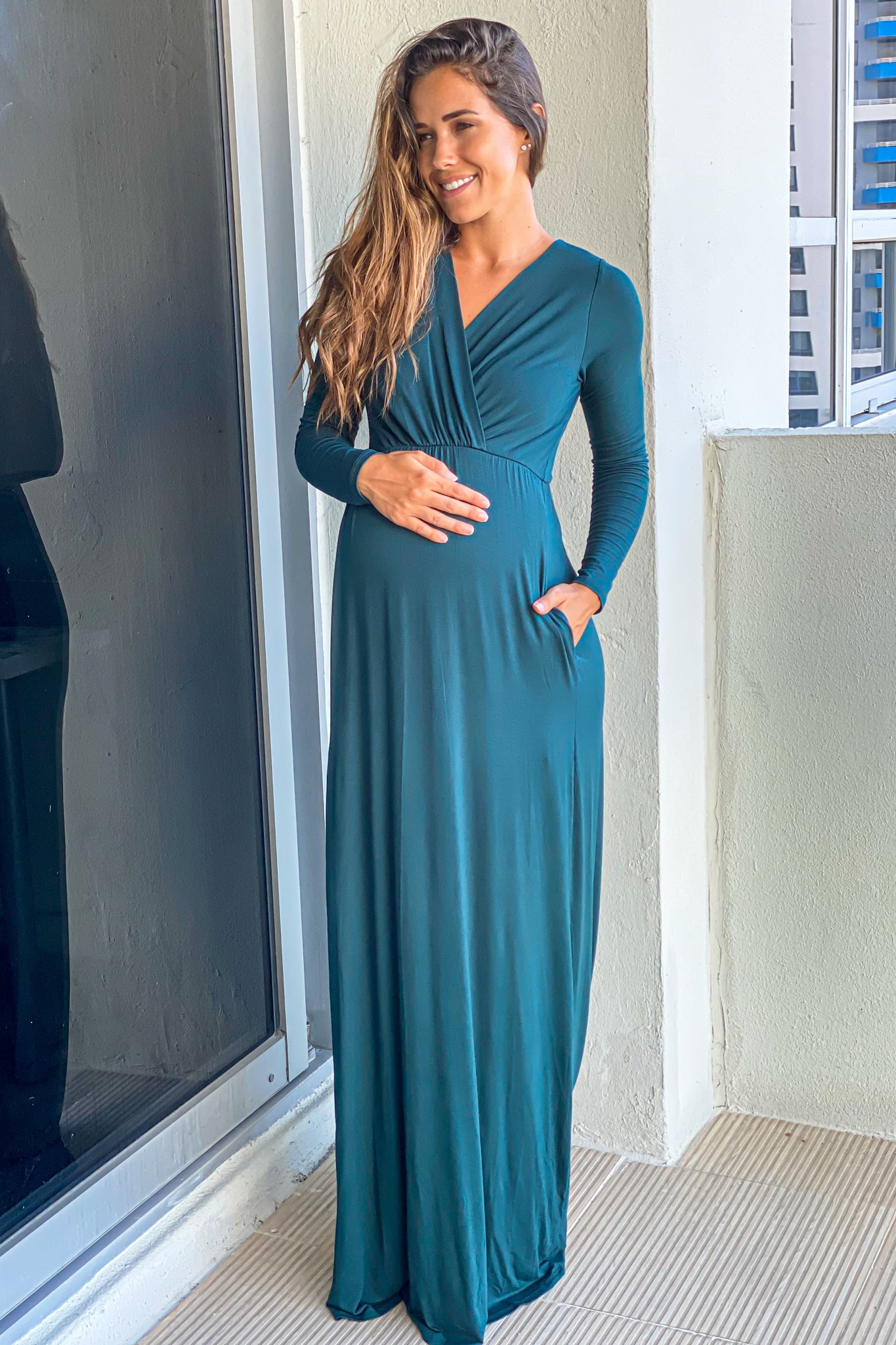 Dark Green V-Neck Maxi Dress