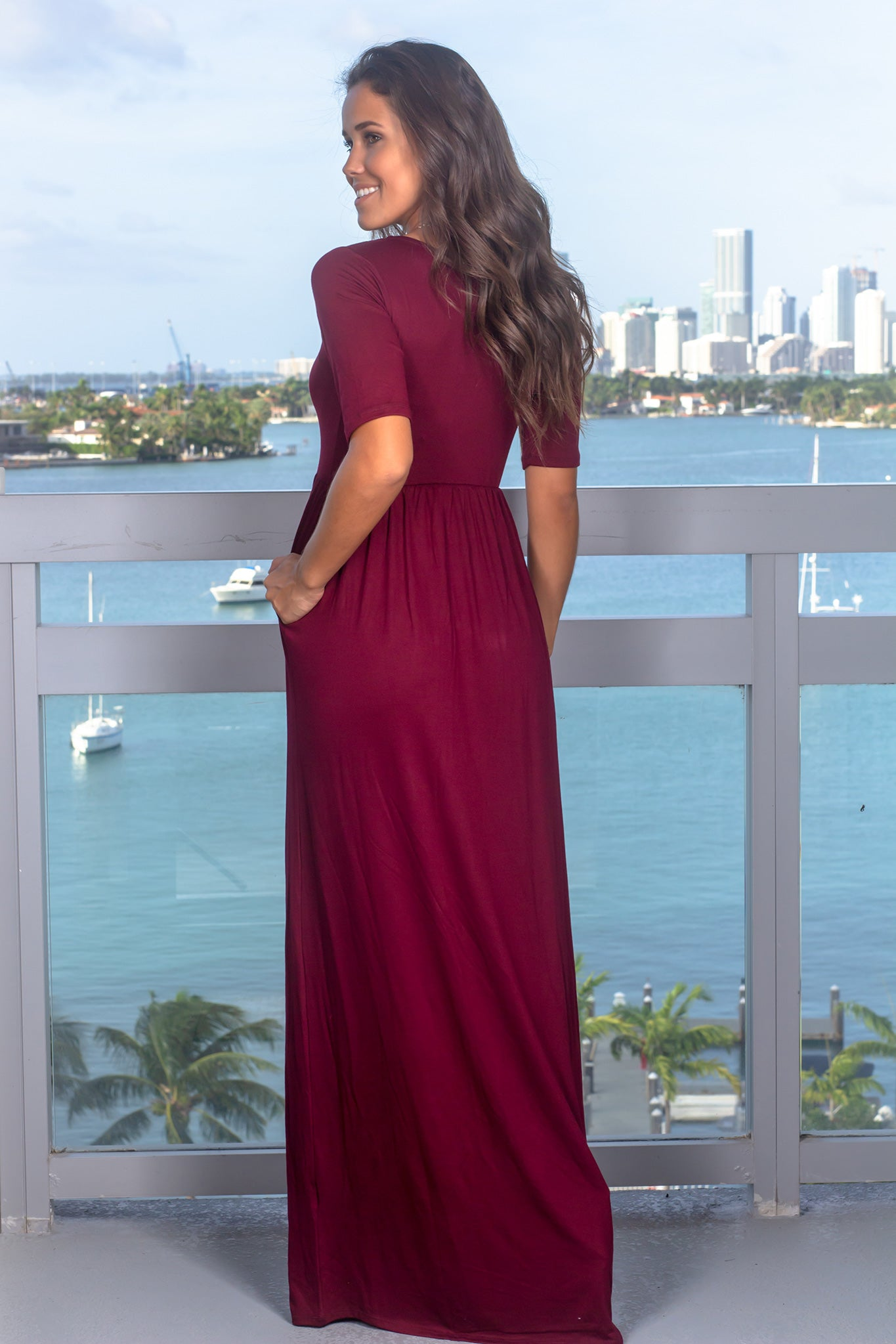 Dark Burgundy Maxi Dress with 1/2 Sleeves