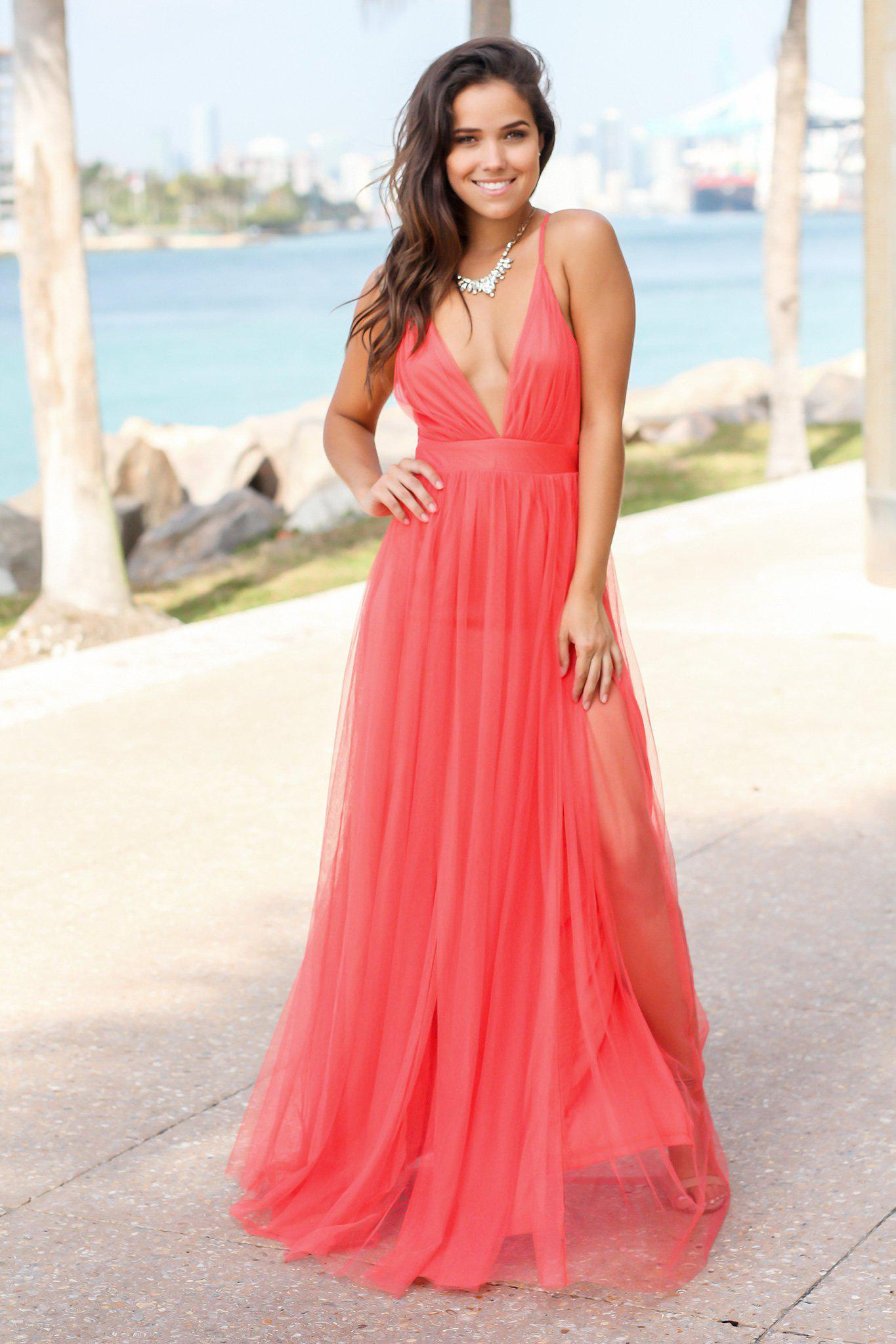 Dark Coral Tulle Maxi Dress with Criss Cross Back