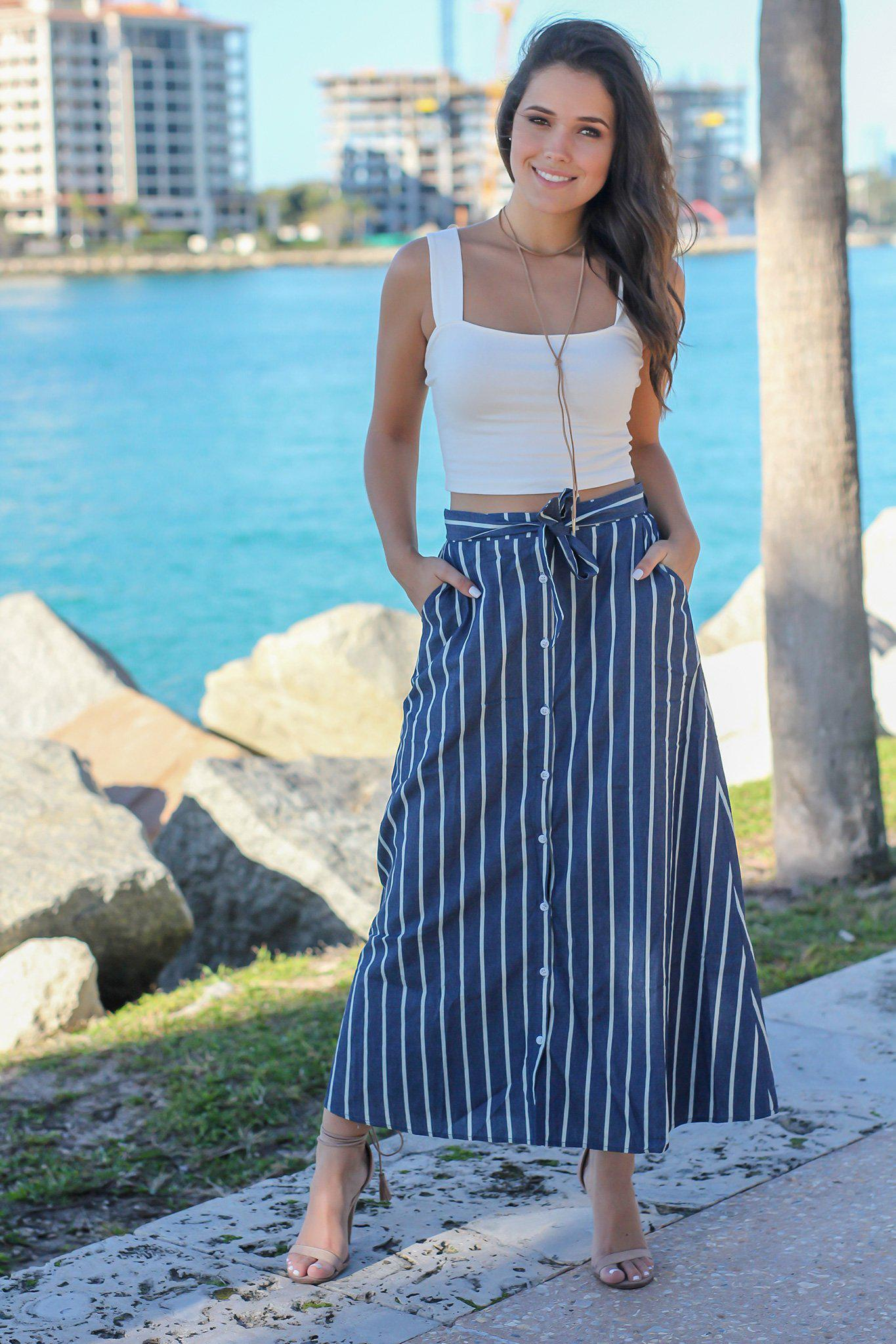 Dark Denim Striped Skirt