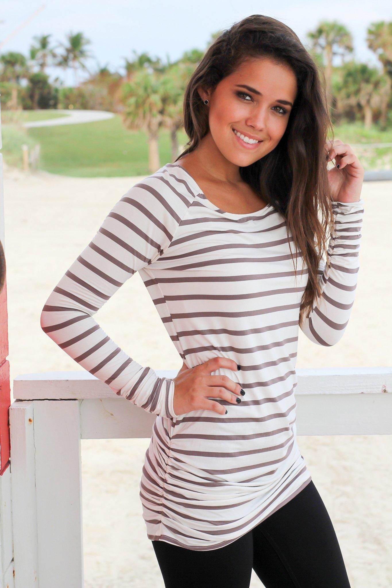 Dark Gray and White Striped Ruched Tunic