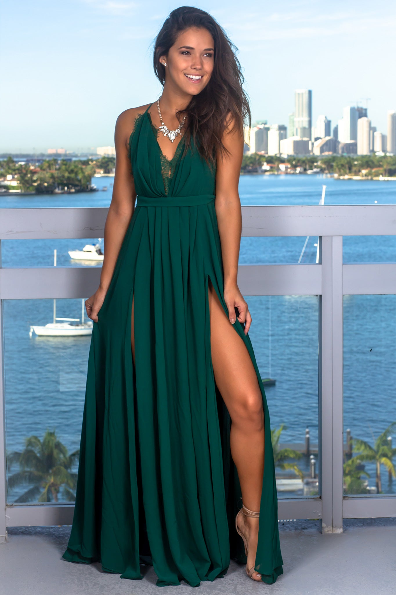 Dark Green Maxi Dress with Criss Cross Back and Lace Detail
