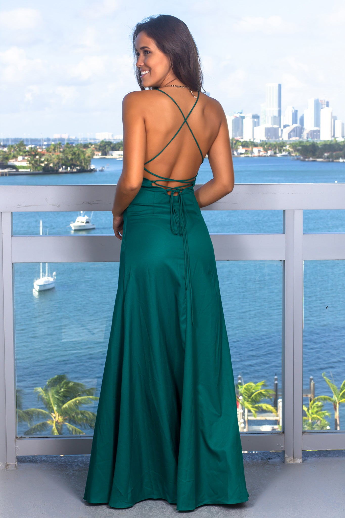 Dark Green Ruffled Maxi Dress with Lace Up Back