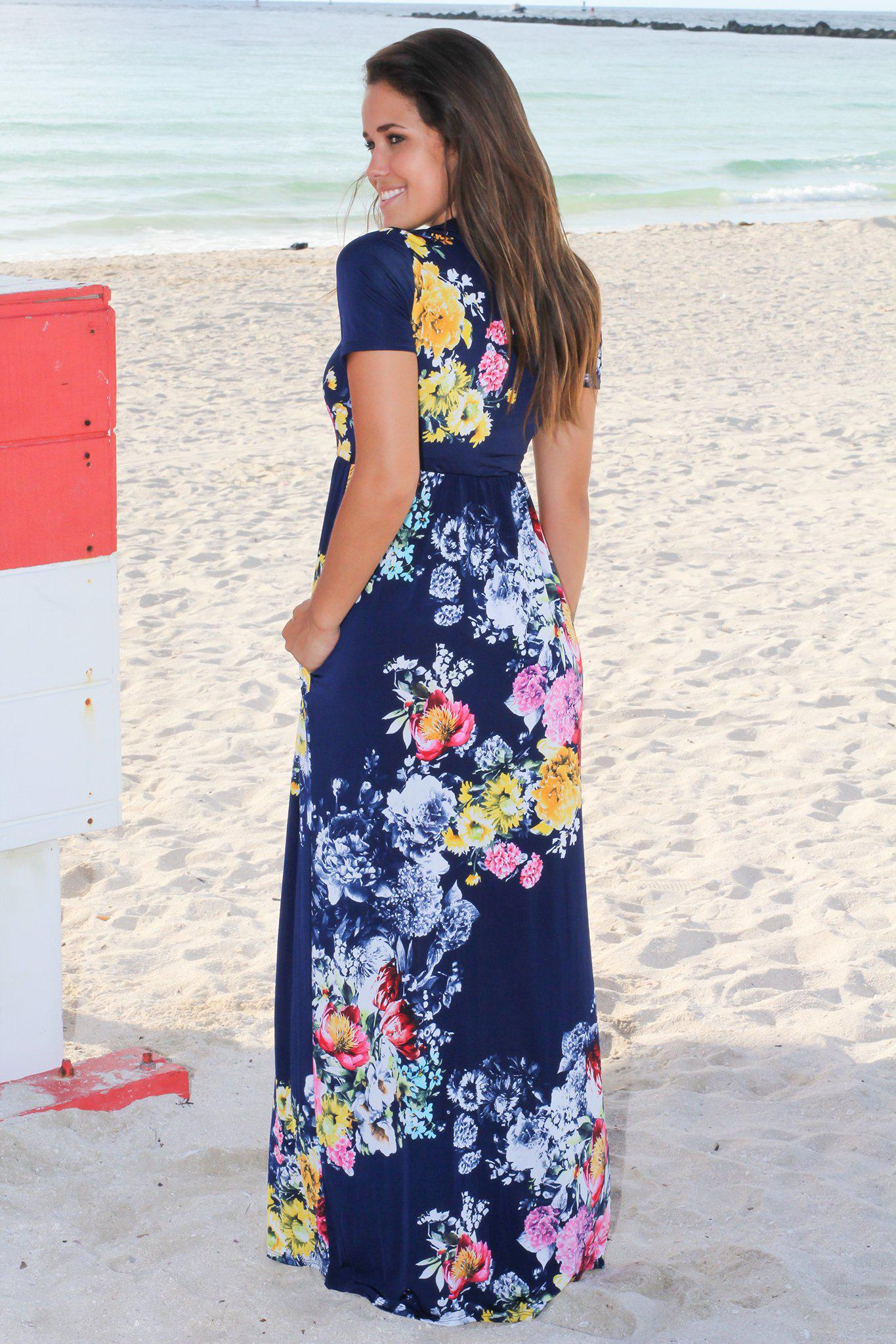 Dark Navy Floral Maxi Dress with Short Sleeves