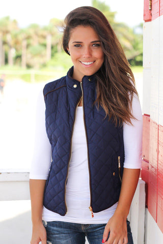 Dark Navy Quilted Vest With Pockets