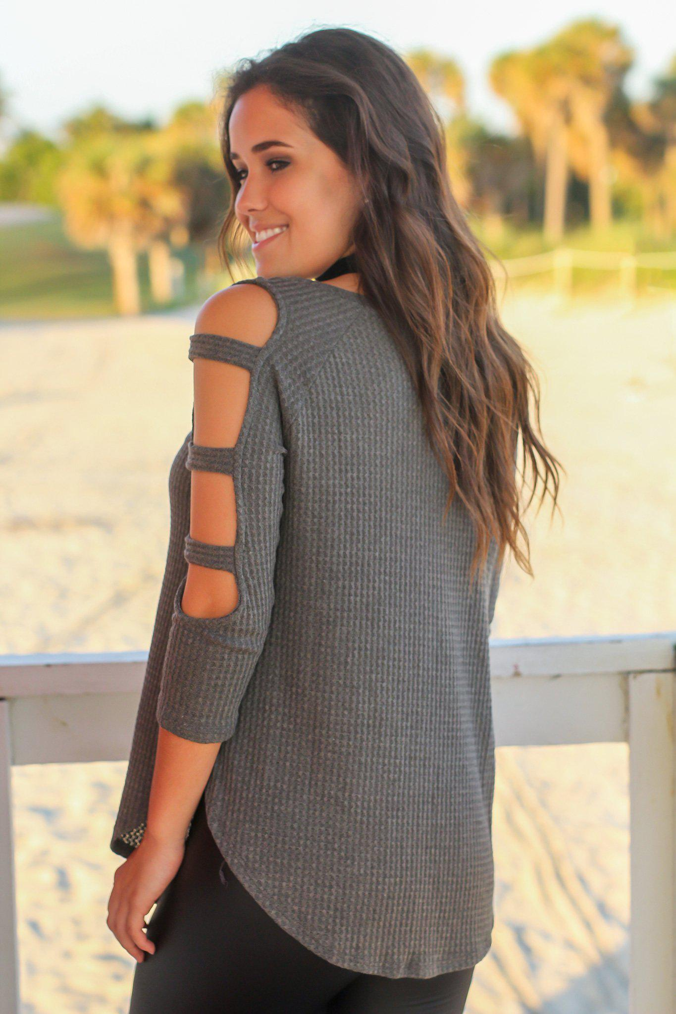 Dark Olive Knit Top with Cut Out Sleeve Detail