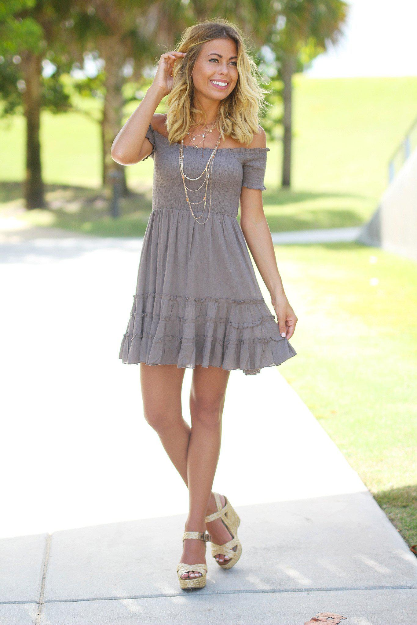 Dark Olive Off Shoulder Short Dress