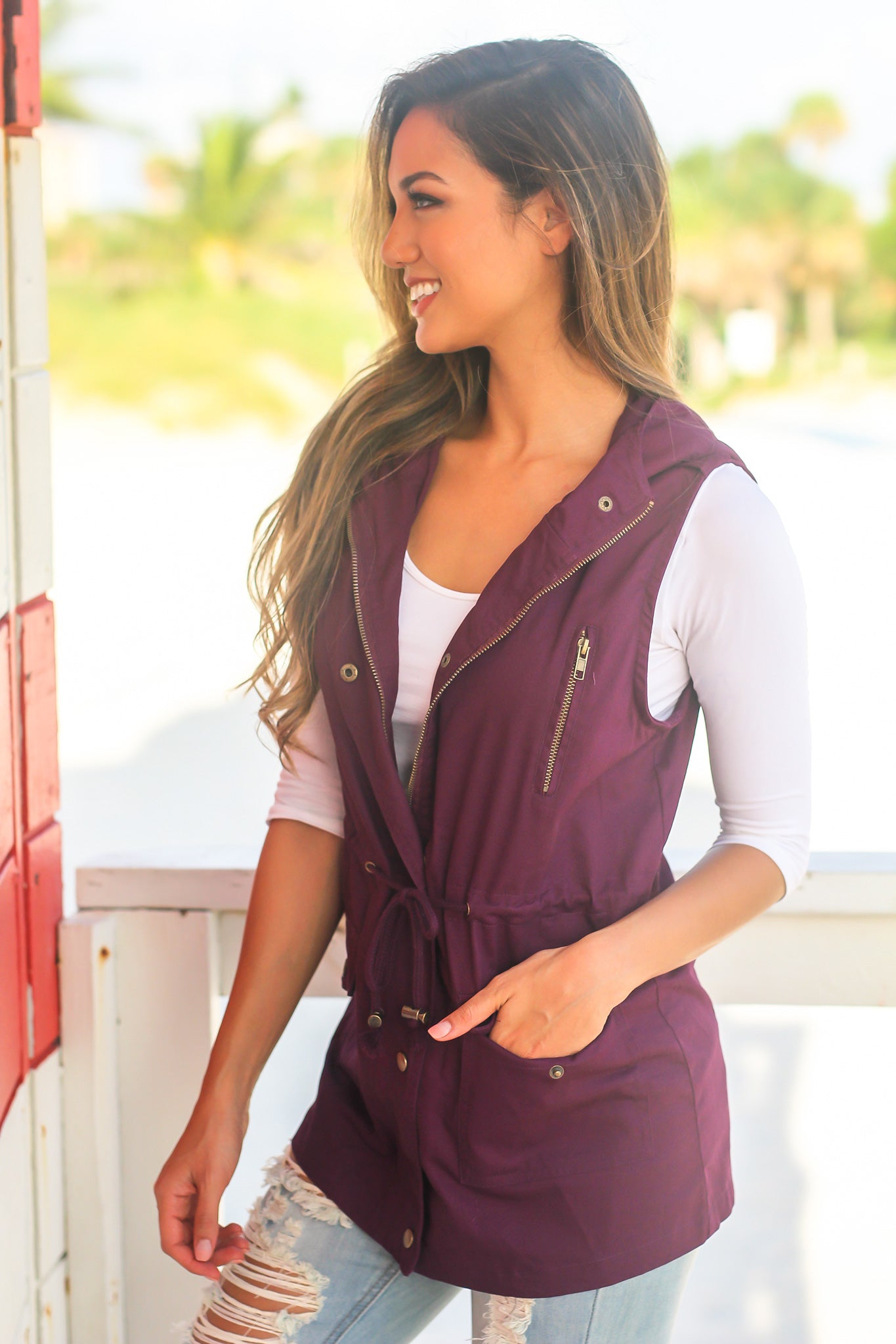 Dark Plum Vest with Hood