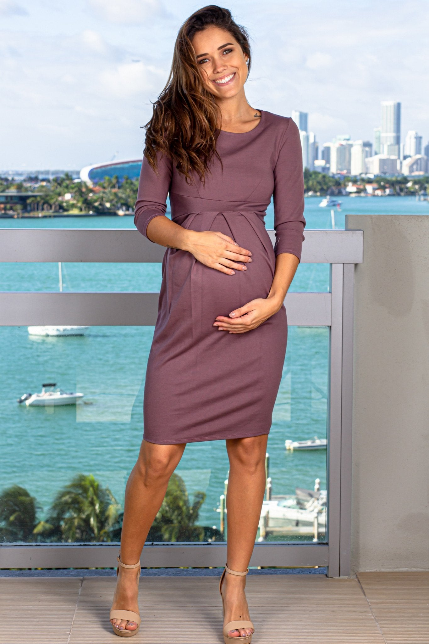 Dark Rose Maternity Short Dress with Sleeves